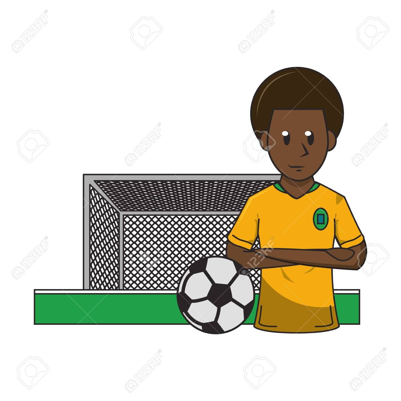 Soccer Player With Arms Crossed And Ball On Playfield With Goal Cartoon Vector Illustration Grap Cartoons Vector Photography Backdrop Stand Vector Illustration
