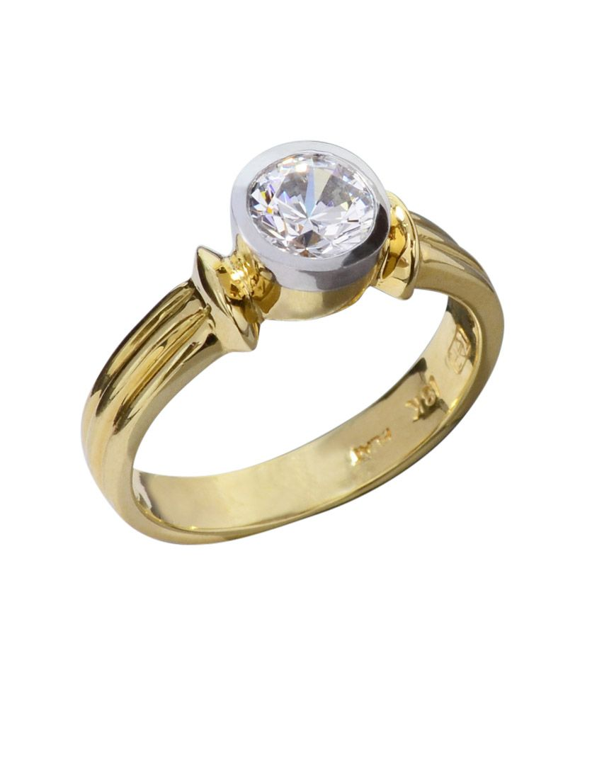 e722b3176 Platinum and 18 karat yellow gold solitaire. 1.00 carat center. This style  can be made with any shape diamond weighing 0.50 carats and larger.