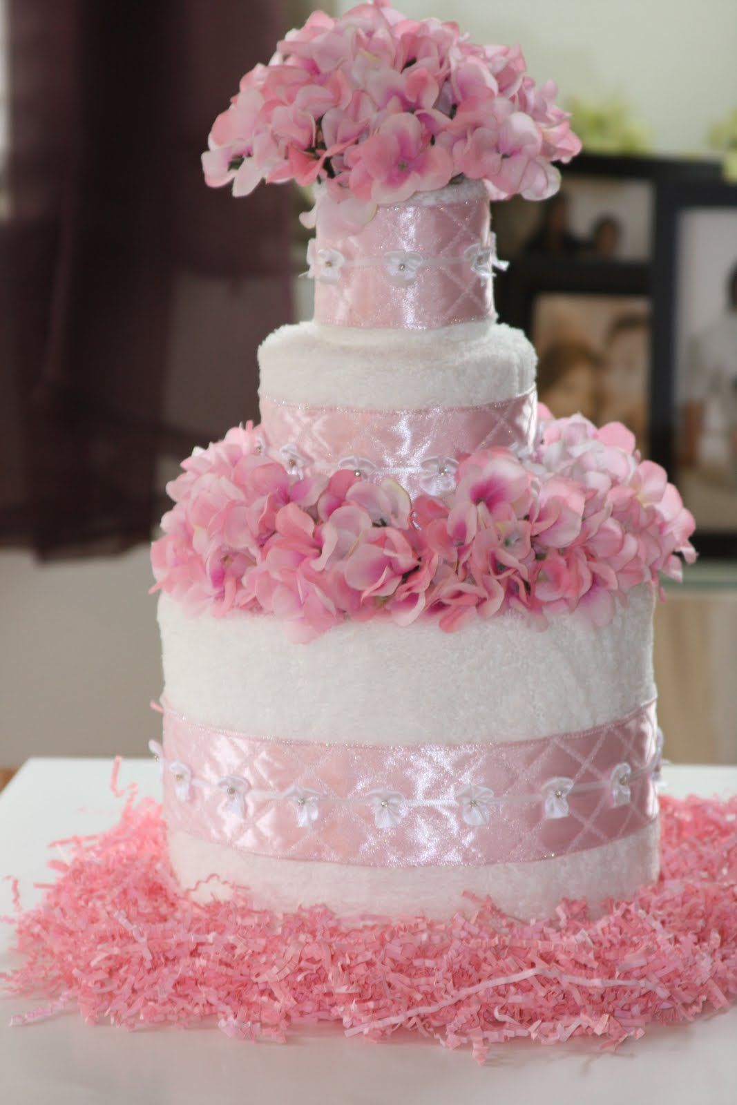 Cakes Made Out Of Towels Becoming A Bridal Shower Cake