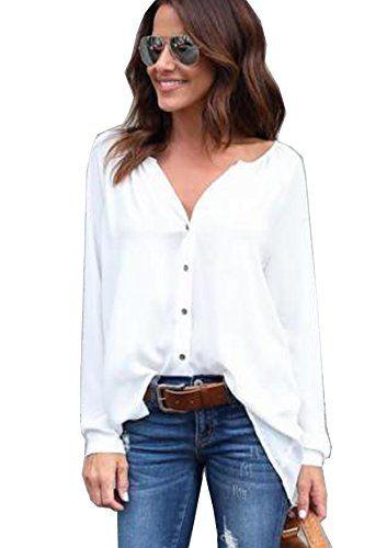 62d24a6221eb Yidarton Chemise Femme Manches Longues Fluide Blouse Casual Chic Classique  Top (X-Large Blanc)