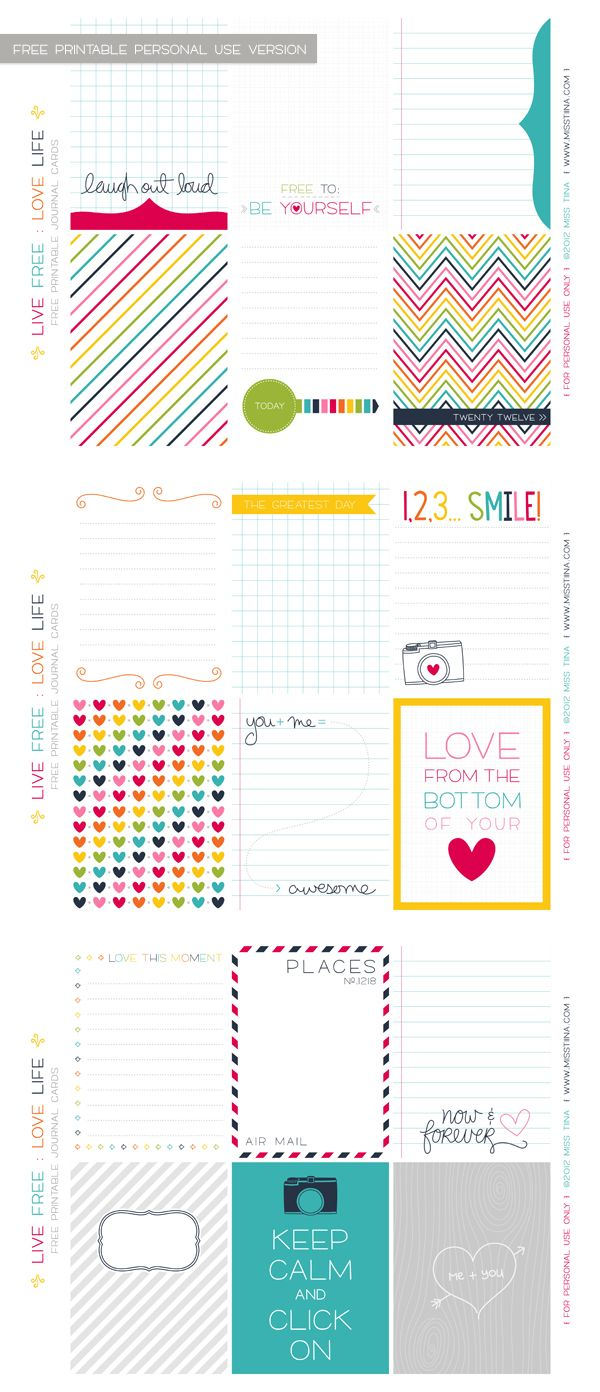 Printable Live Free : Love Life Journal Cards