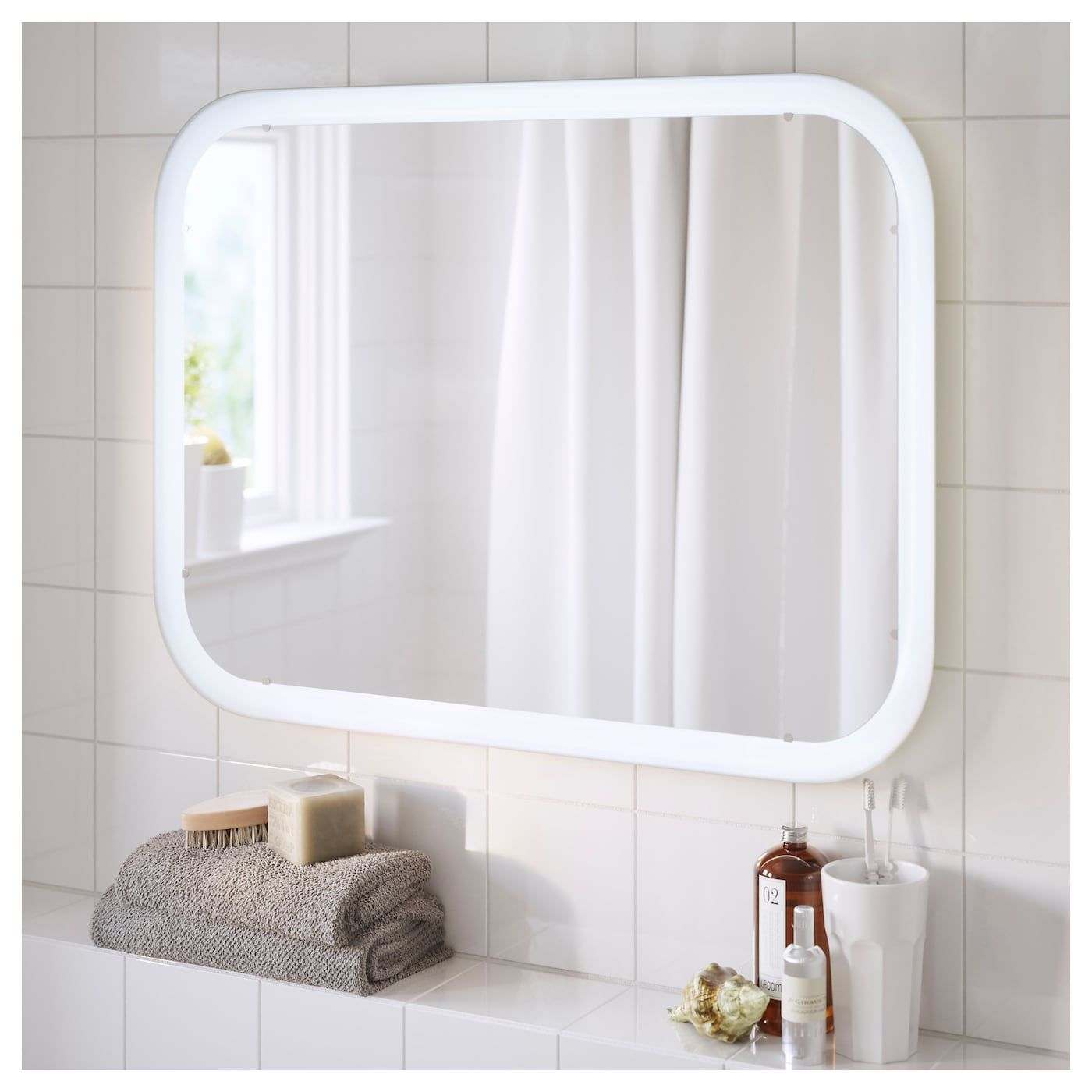 Storjorm Spiegel Mit Beleuchtung Weiss Ikea Deutschland Mirror With Built In Lights Ikea Mirror Lights Ikea Bathroom Mirror