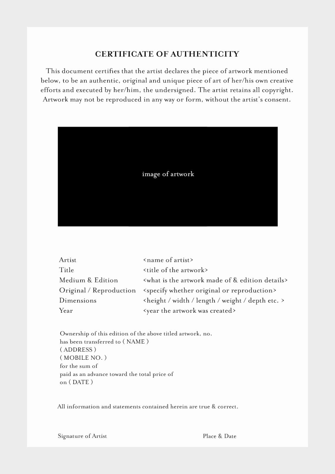 Certificate Of Authenticity Template For Art Inspirational Blank Certificate Authenticity Dannybarrantes Te Art Certificate Photography Templates Certificate