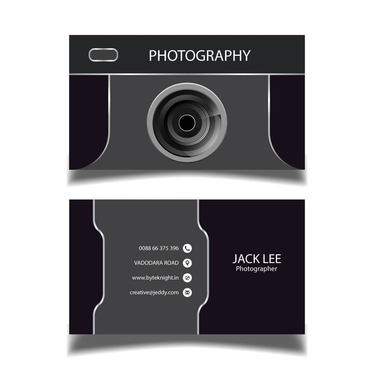 Photography Visiting Card Vc125 Bk Designs In 2021 Visiting Card Design Card Photography Photography Business Cards