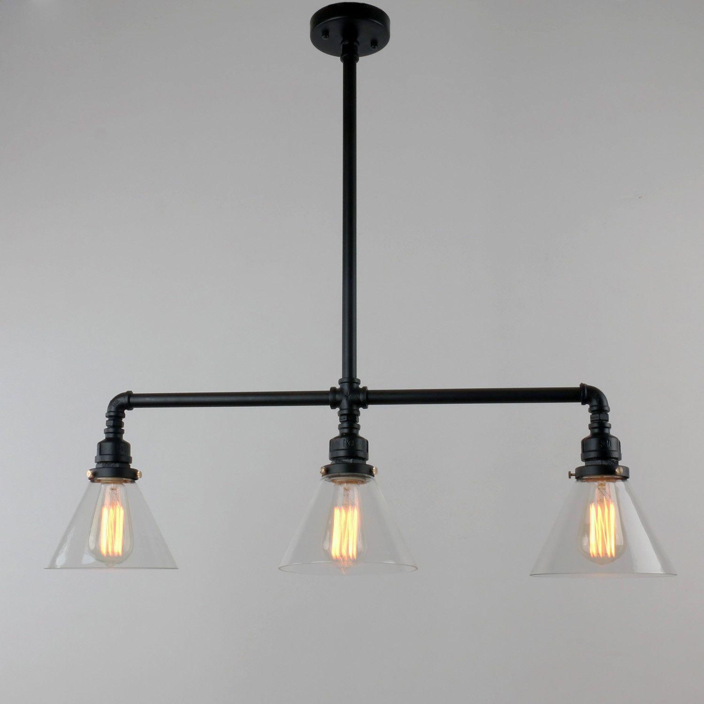 Vintage Pool Table Light Ebay: UNITARY BRAND Black Antique Rustic Glass Shade Hanging