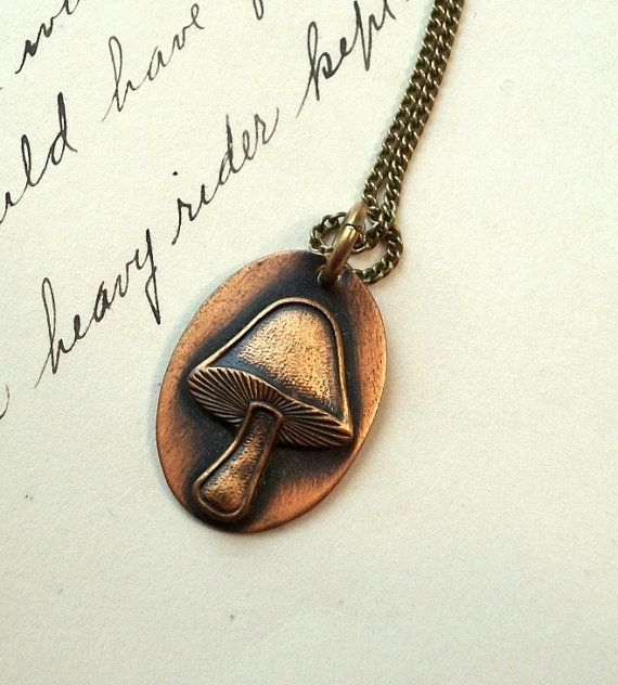 Copper Mushroom Necklace Fungi 1970s by thedepo on Etsy,