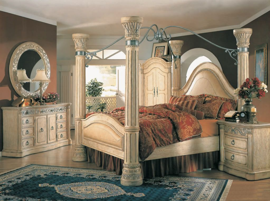Margaret King Poster Canopy Bed 5 Piece Bedroom Set Antique White W Marble Tops Canopy Bedroom Canopy Bedroom Sets Bedroom Set Designs