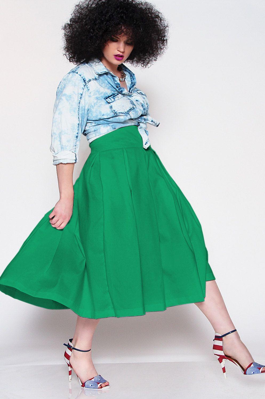 ebe66b8ac64fc JIBRI Green High Waist Pleated Midi Skirt