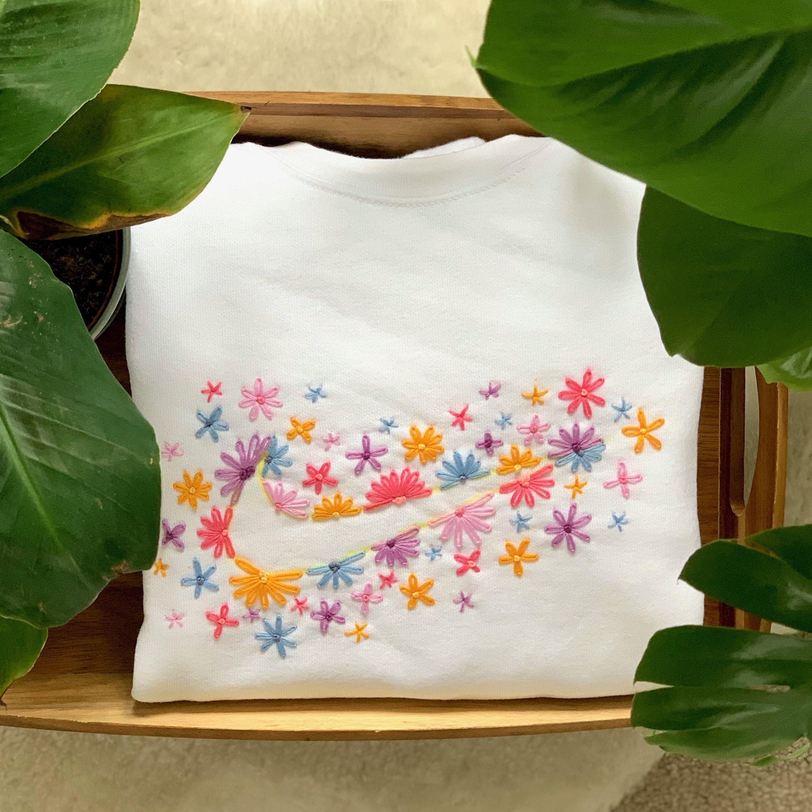 Tick Logo Floral Hand Embroidered Sweatshirt