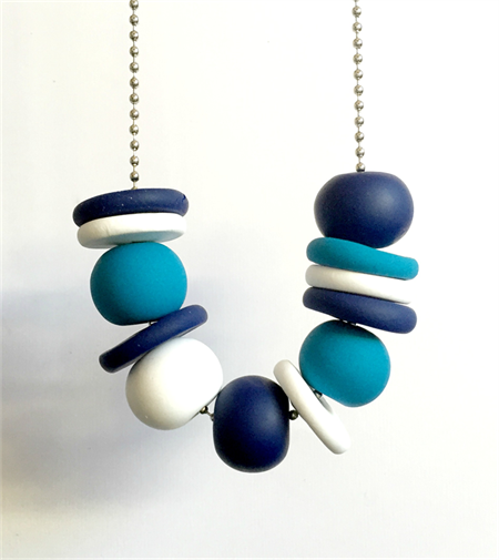 Navy, Turquoise and White Polymer Clay Necklace. Picture ...