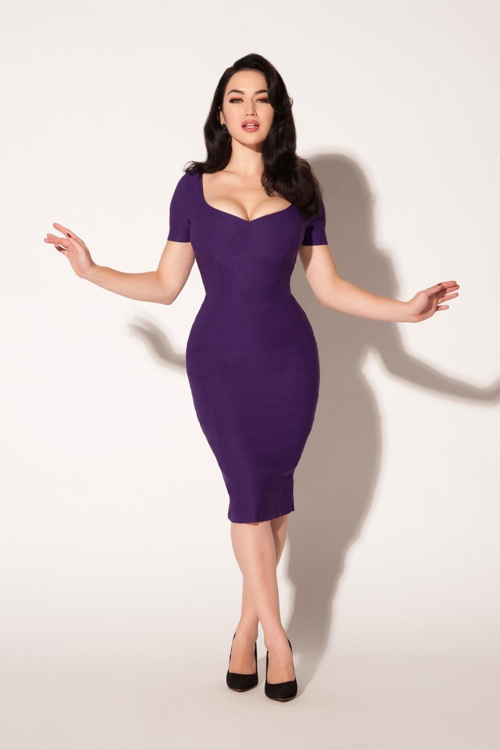 The Priscilla Cocktail Dress in Purple Bengaline by Pinup Couture