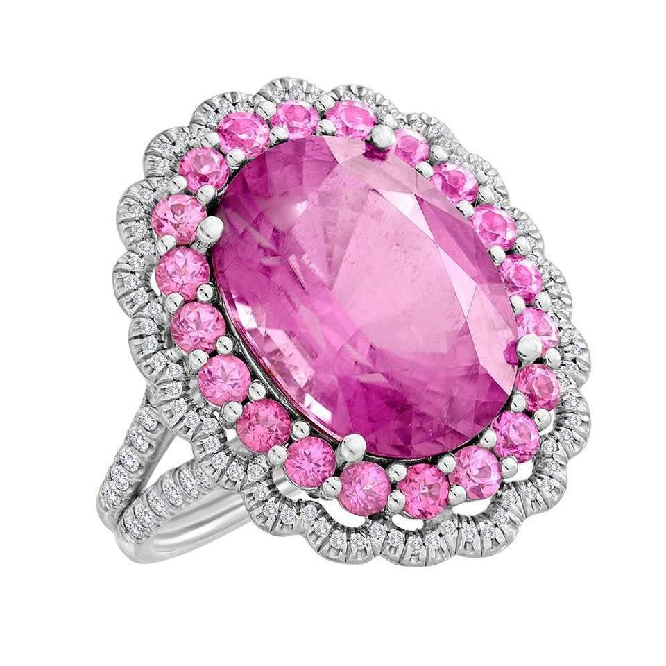 Unique Copper Bearing Pink Tourmaline Pink Spinel Diamond Ring ...
