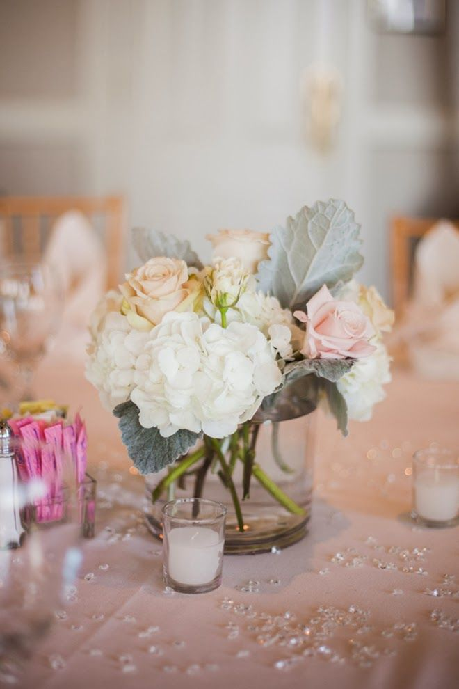 Pretty centerpiece in neutral colors ~ Jackie Ray Photography
