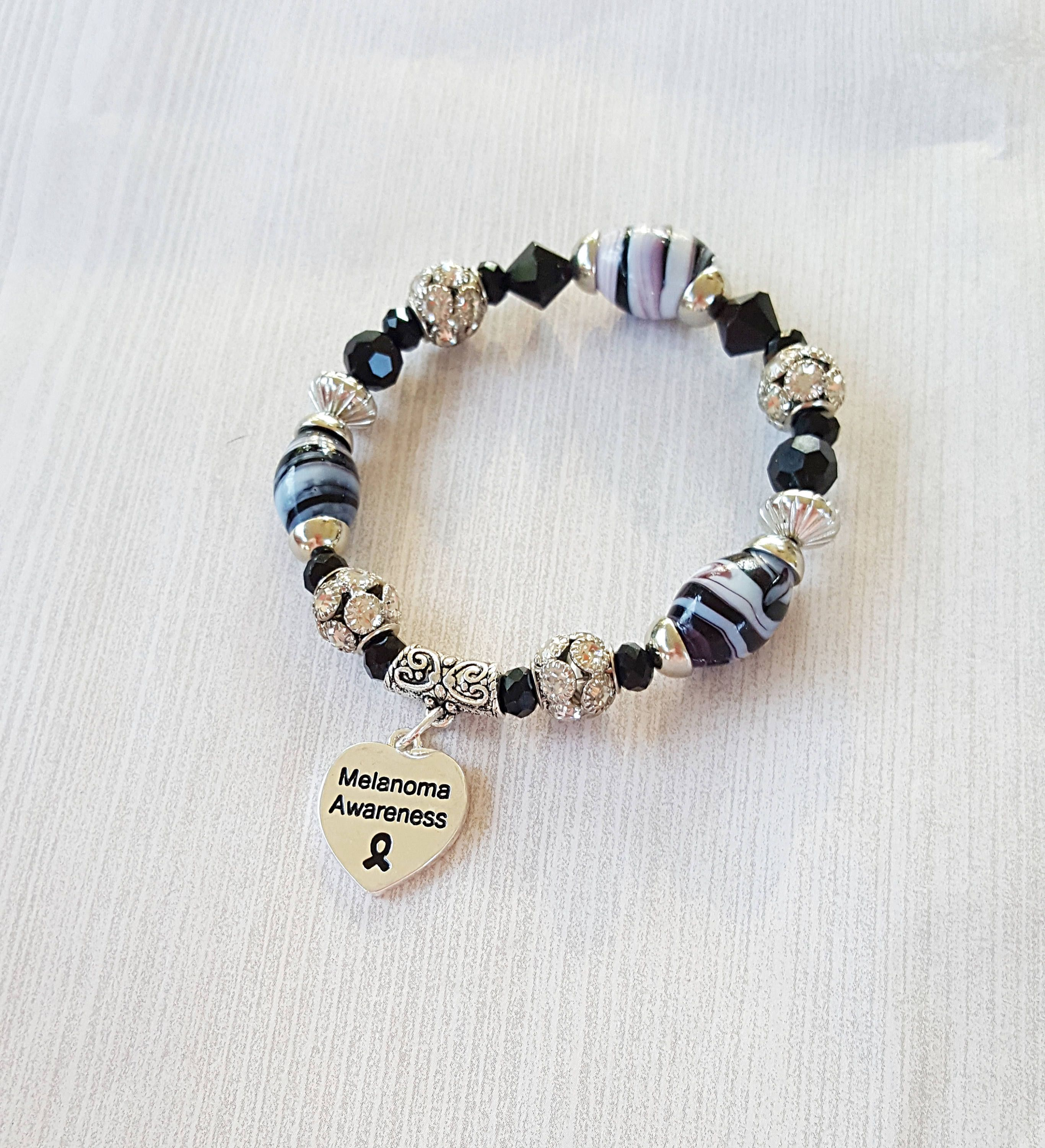 silver up adjustable pin charms melanoma give awareness bracelet wire never cancer black ribbon