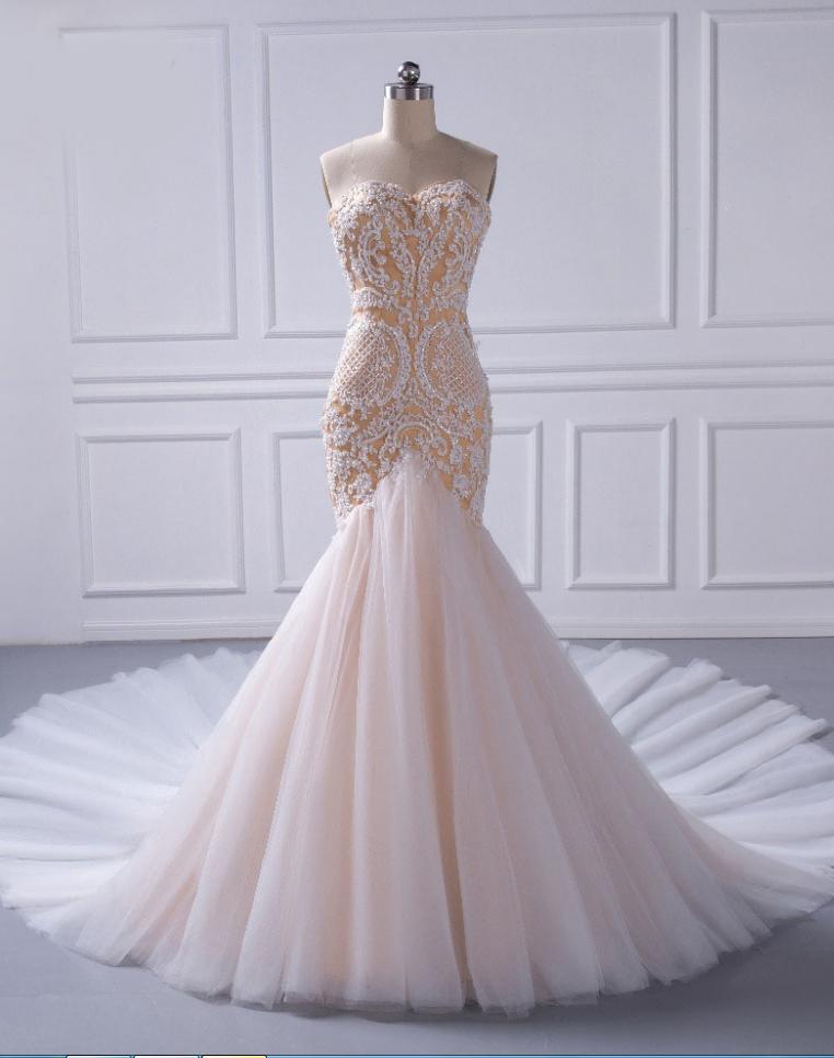Mermaid Champagne Beaded Wedding Dresses Off The Shoulder | Dream ...