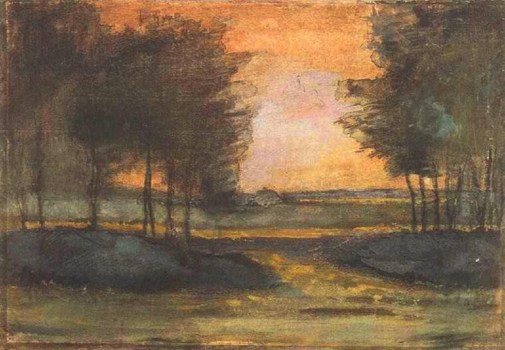 The Landscape in Drenthe, 1883, watercolor on paper,  Private Collection,  Realism, Vincent van Gogh (1853-1890).