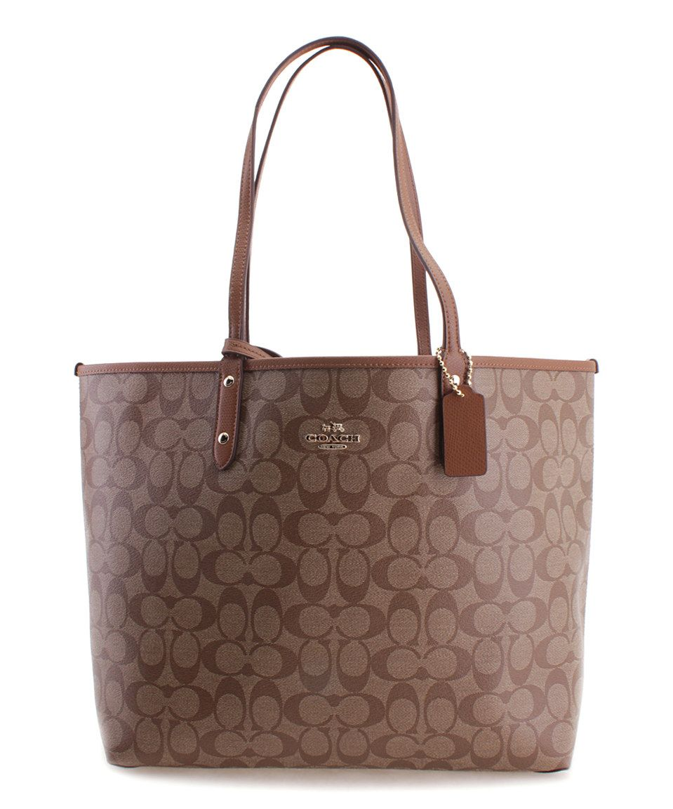 da26e146c8 This Coach Khaki   Saddle Reversible City Leather Tote by Coach is perfect!   zulilyfinds