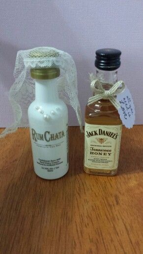 Fun wedding favors. Mini RumChata and Jack Daniels decorated like ...