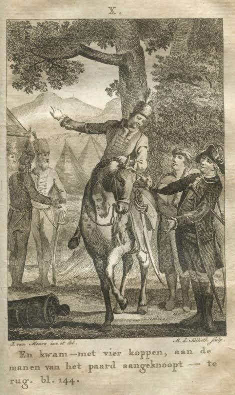 Part II Ip.144 number X / Trenck is coming back from the Front with 4 heads of enemies and acquires a pardon from his condemnation to death by Field-Marshall Münnich And (I) was coming –  with 4 heads,  tied on the manes of the horse –  back