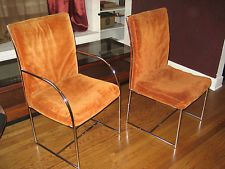 2 Vintage Milo Baughman / Thayer Coggin Chrome Dinning Side Arm Chairs 1970's