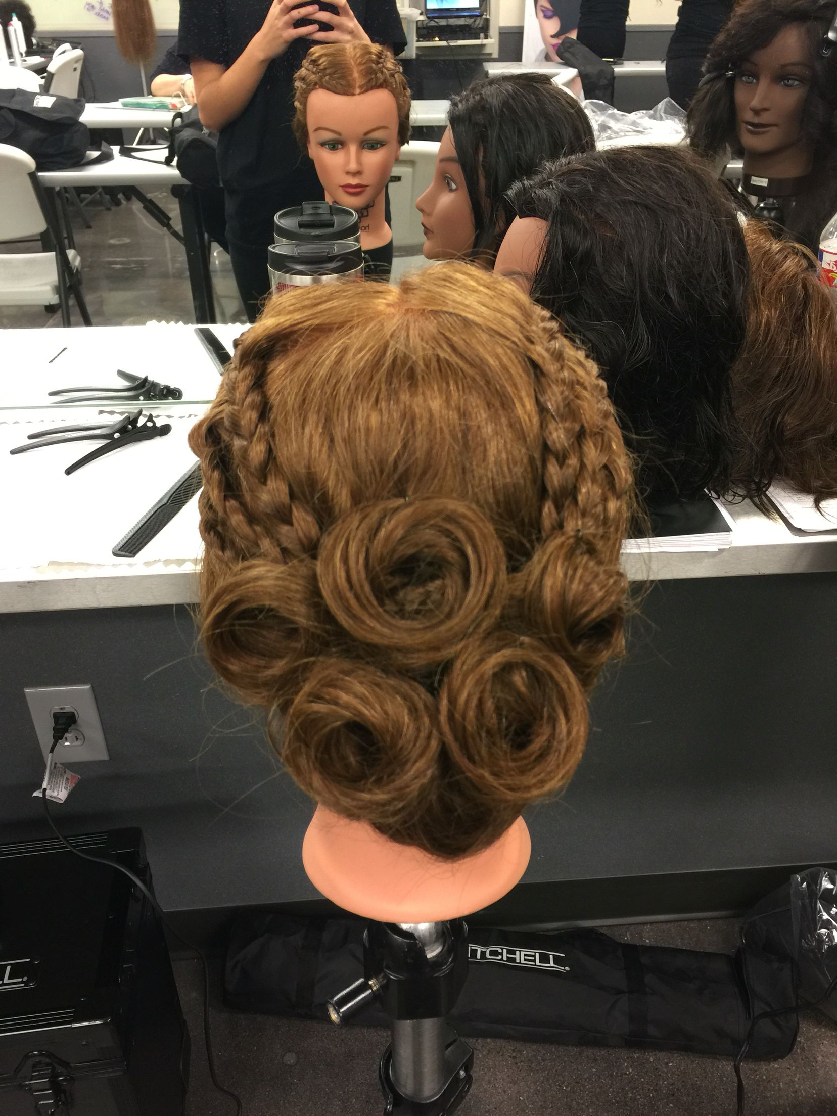 Updo, wedding hair, pin curls, braids