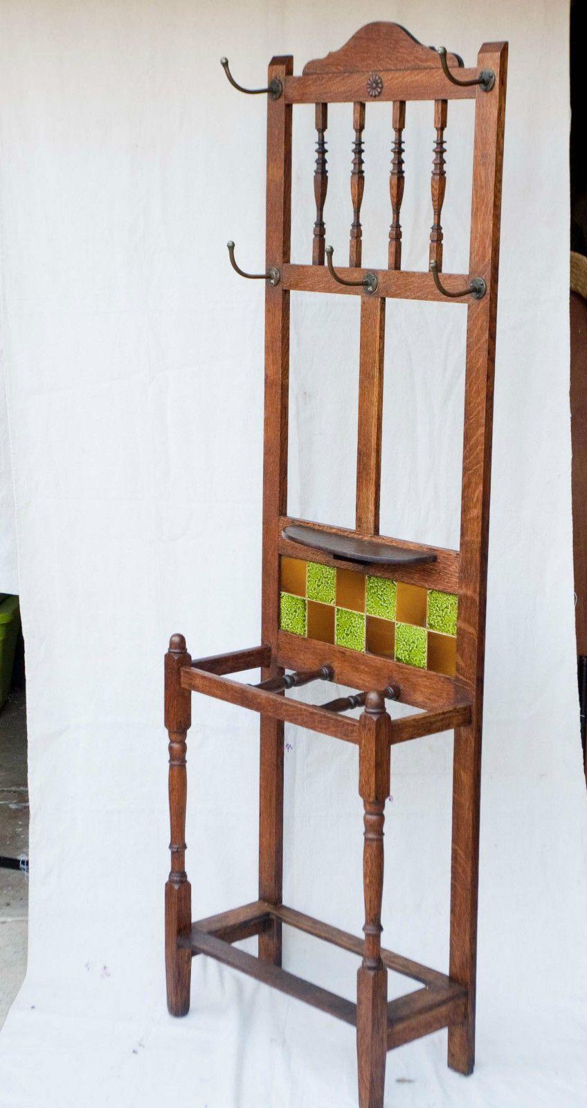 Antique English Warm Oak Wood Hall Tree Coat Rack Stand 1880 Tile Ebay Tree Coat Rack Oak Wood Hall Tree