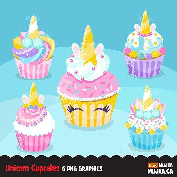 Unicorn cupcake clipart, rainbow cupcakes, baking, cake