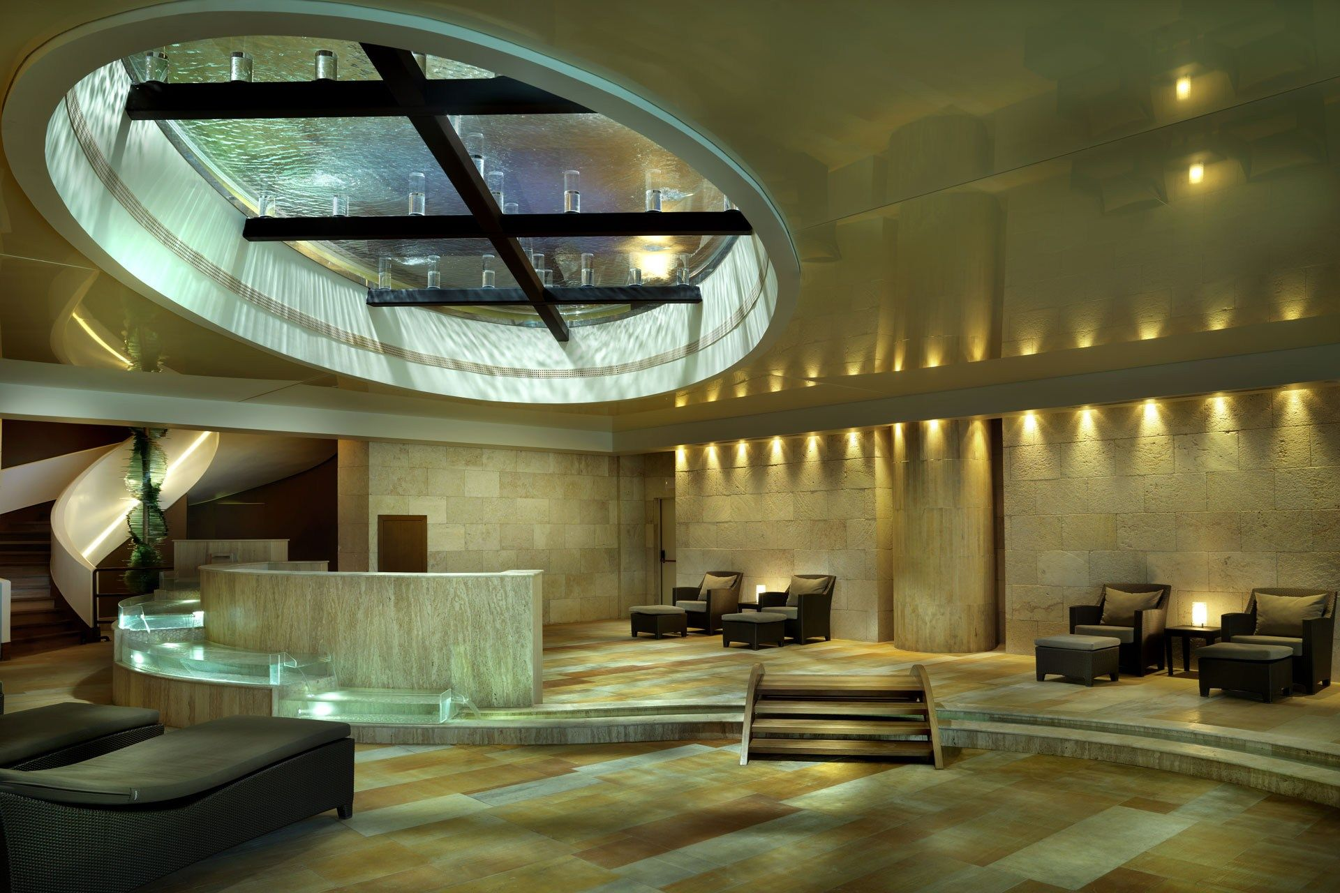 interior direct and indirect light hotel lobby