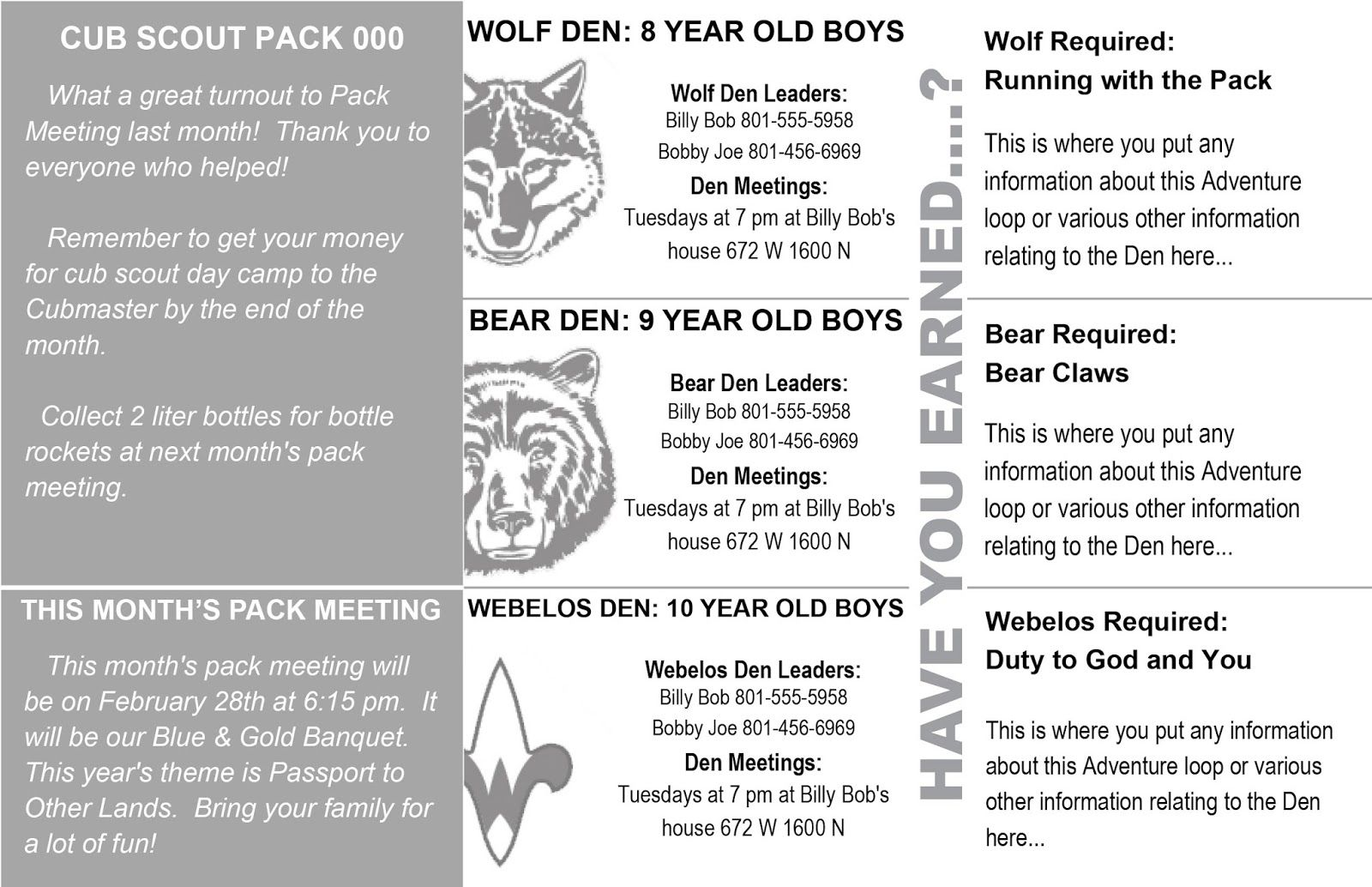 the most basic form of communication is through a paper newsletter our ward produces at the beginning of each month.  In our half page newsletter submission, we include general information about past and future Pack Meetings, as well as reminder information about any other upcoming events.