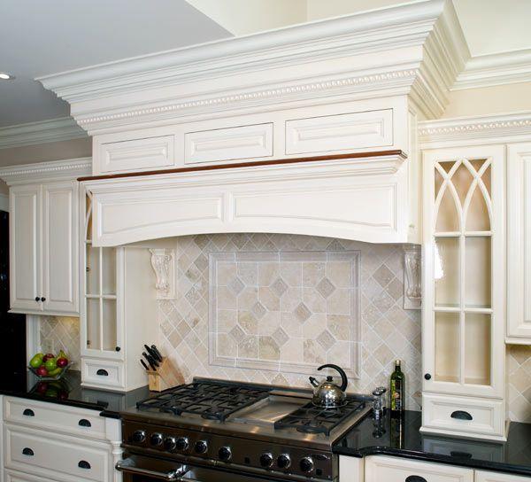 Custom cabinets over Stove | Wood range hood, Kitchen ...