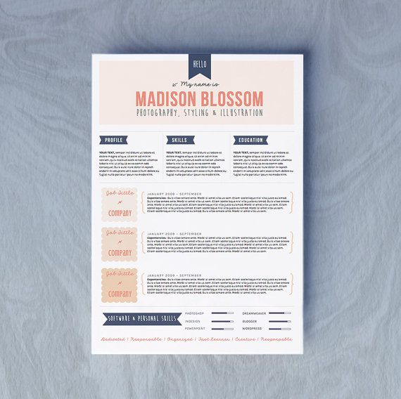 word  doc resume cv design cover letter template by oddbitsstudio   u20ac13 34