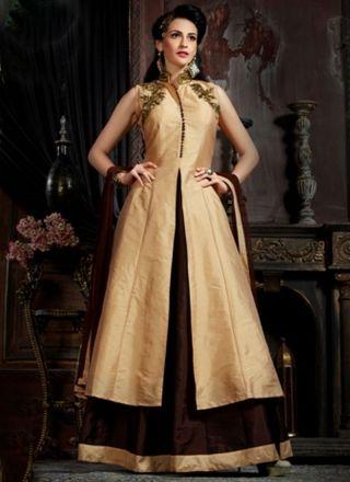 9feb160cf7e Beige Brown Embroidery Work Tapeta Silk Net Designer Long Anarkali Gown  Salwar Suits Online