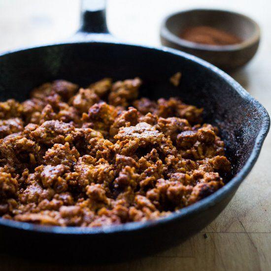 How to make spicy Mexican Chorizo with ground turkey instead of pork. Lighter & leaner- tasty in tacos, nachos & breakfast burritos! GF