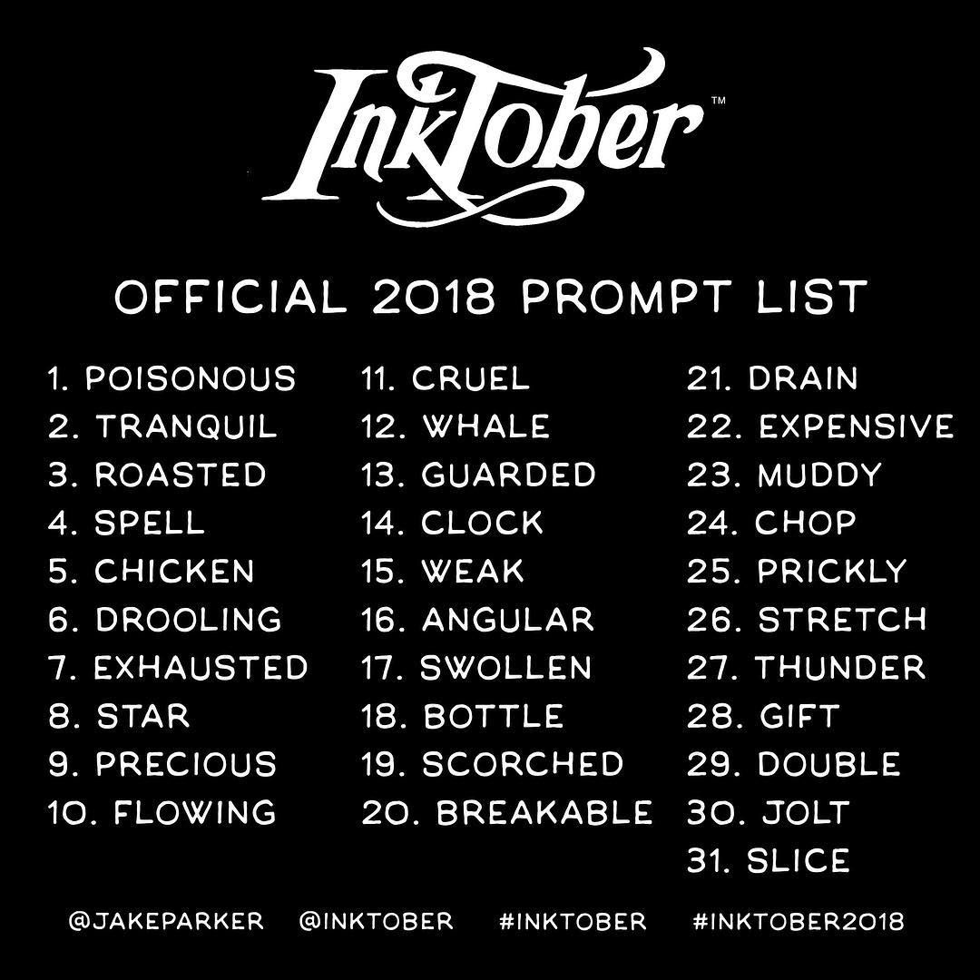 "Inktober on Instagram: ""The official 2018 #Inktober prompt list. Pass this along, would ya? - #inktober #inktober2018 #inking #drawing #ink #drawingchallenge…"" #drawingprompts"
