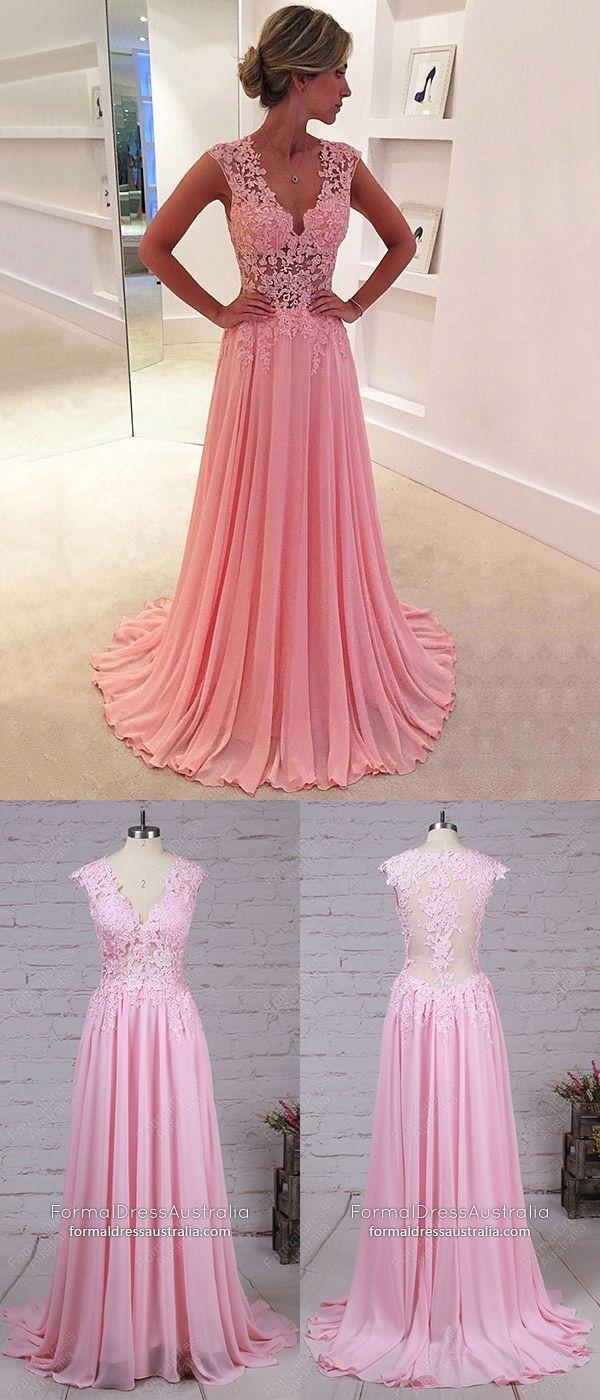 Long formal dresses pink a line prom dresses elegant chiffon