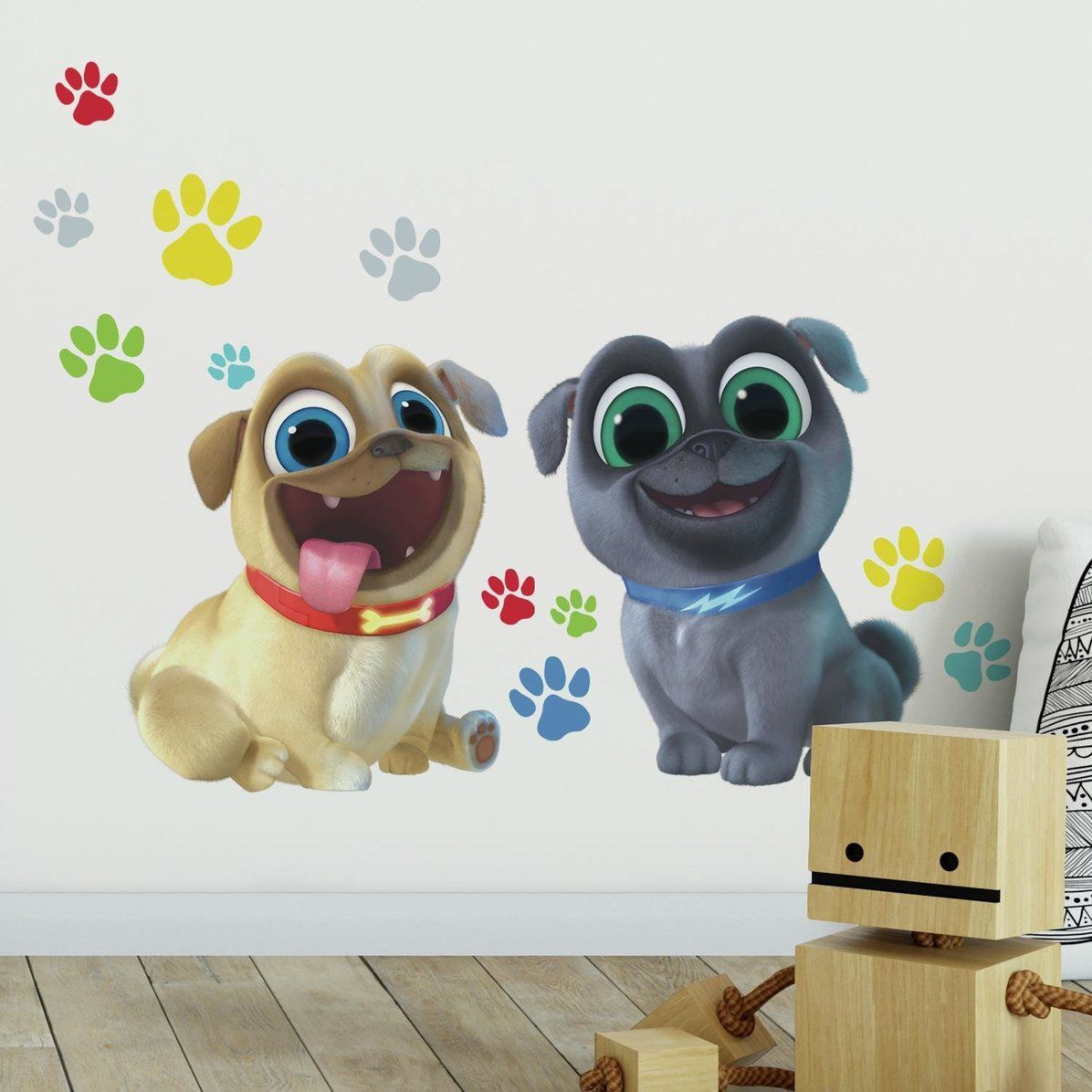 Puppy Dog Pals Peel And Stick Giant Wall Decals 13 Pieces Dog Paw Print Puppies Pug Dog