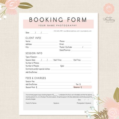 Photography Forms Client Booking Form Template for Photographers - wedding photography contract template