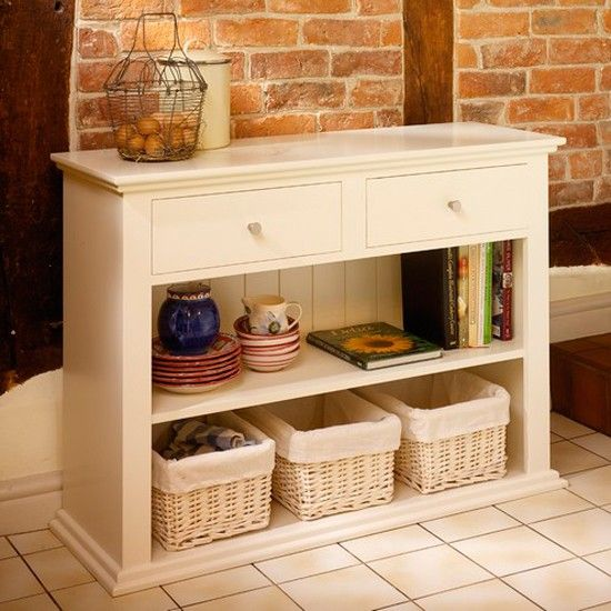 Silbury console table from The Cotswold Company Paint dark grey and replace rattan baskets with brightly coloured boxes & White Console Tables - Our Pick of the Best | Console tables ...