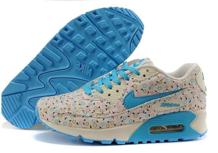 Nike Air Max 90 Floral Print Womens Dandelion Running Shoes