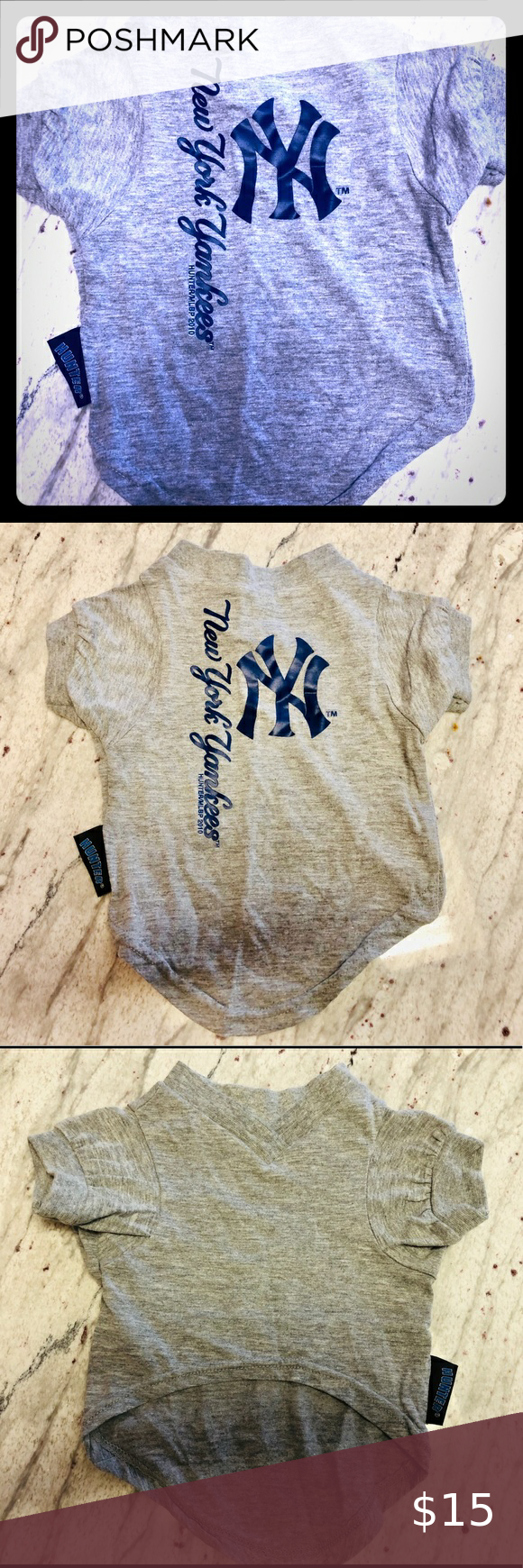 NY Yankees grey and blue dog T-shirt size small