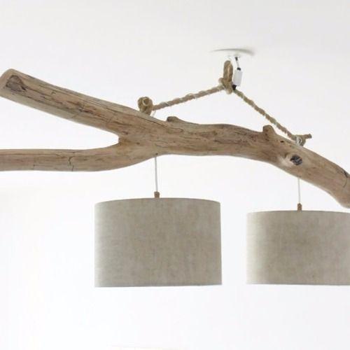 lustre bois flott lin 28cm double suspension led plafonnier luminaire fait main. Black Bedroom Furniture Sets. Home Design Ideas