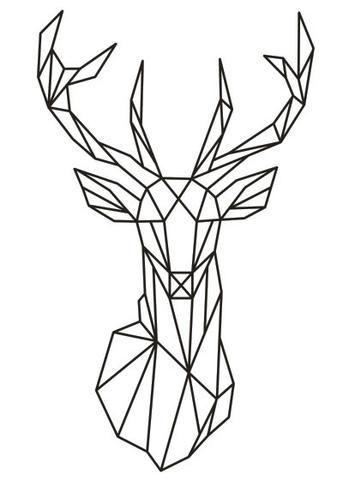 Geometric Deer Head Wall Sticker Geometry Animal Series Decals 3d