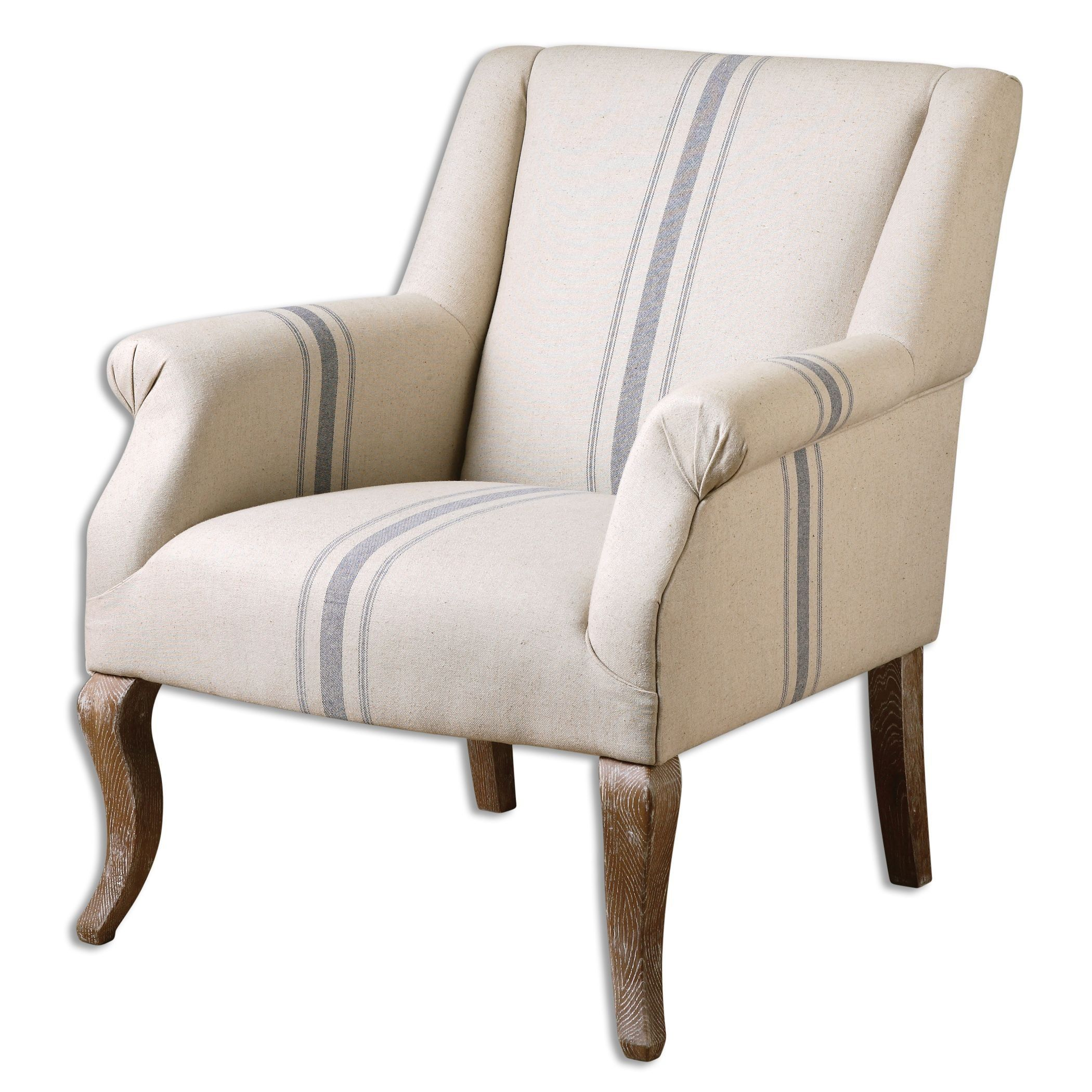 Amazon Com Farmhouse Arm Accent Chair Country Blue Cream Ticking Stripe Accent Chairs For Living Room Linen Armchair Armchair