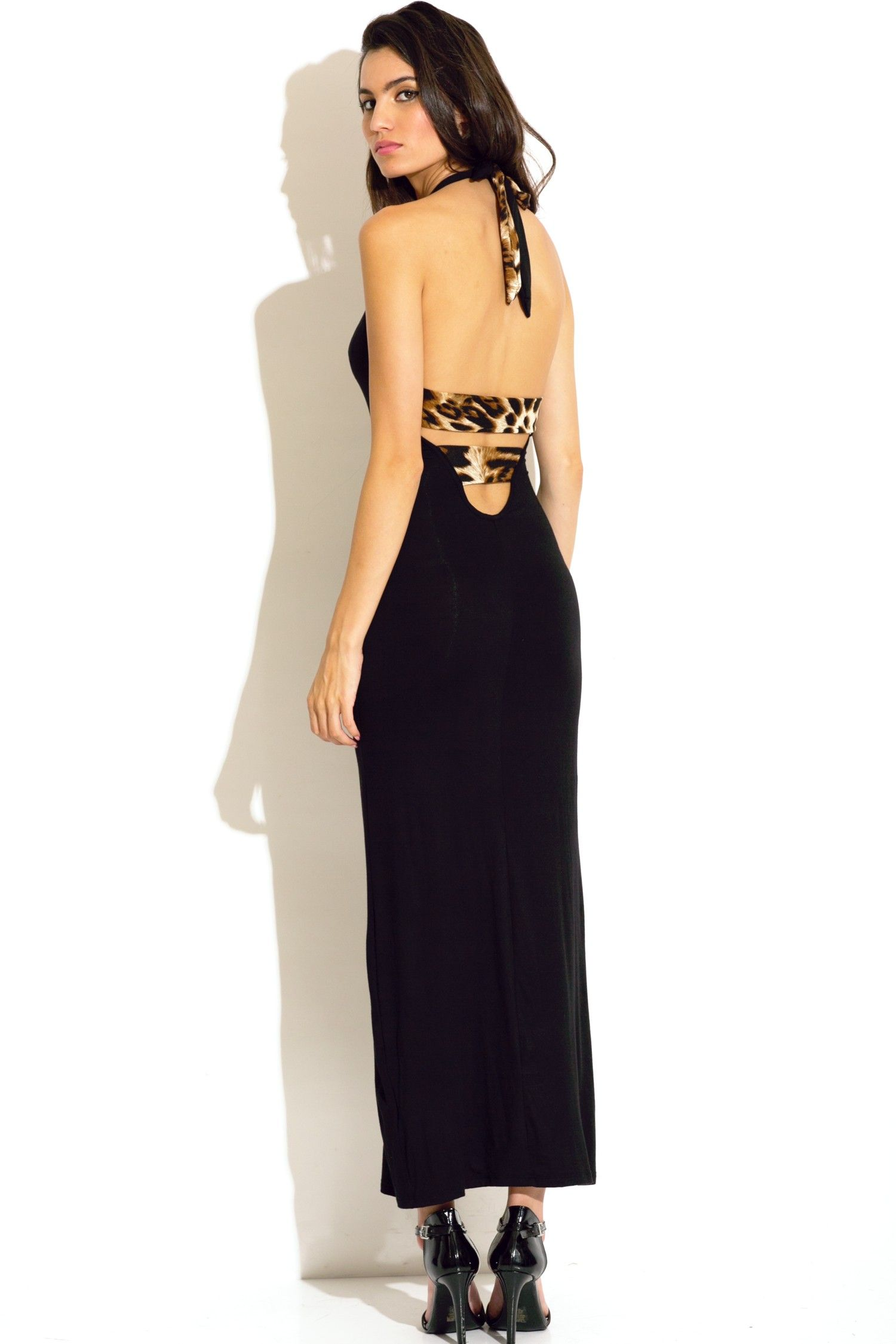stripe me down - Trendy Cute black and leopard animal print cut out backless high slit fitted strappy maxi dress #fashion #1015store   $30
