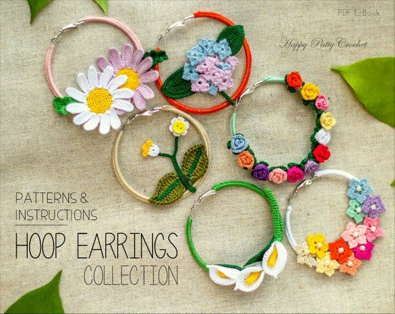 Crochet Earrings Pattern Collection - Crochet Hoop Earrings Pattern - Crochet Rose Earrings - Calla Lily Earrings Crochet Pattern #crochetelements