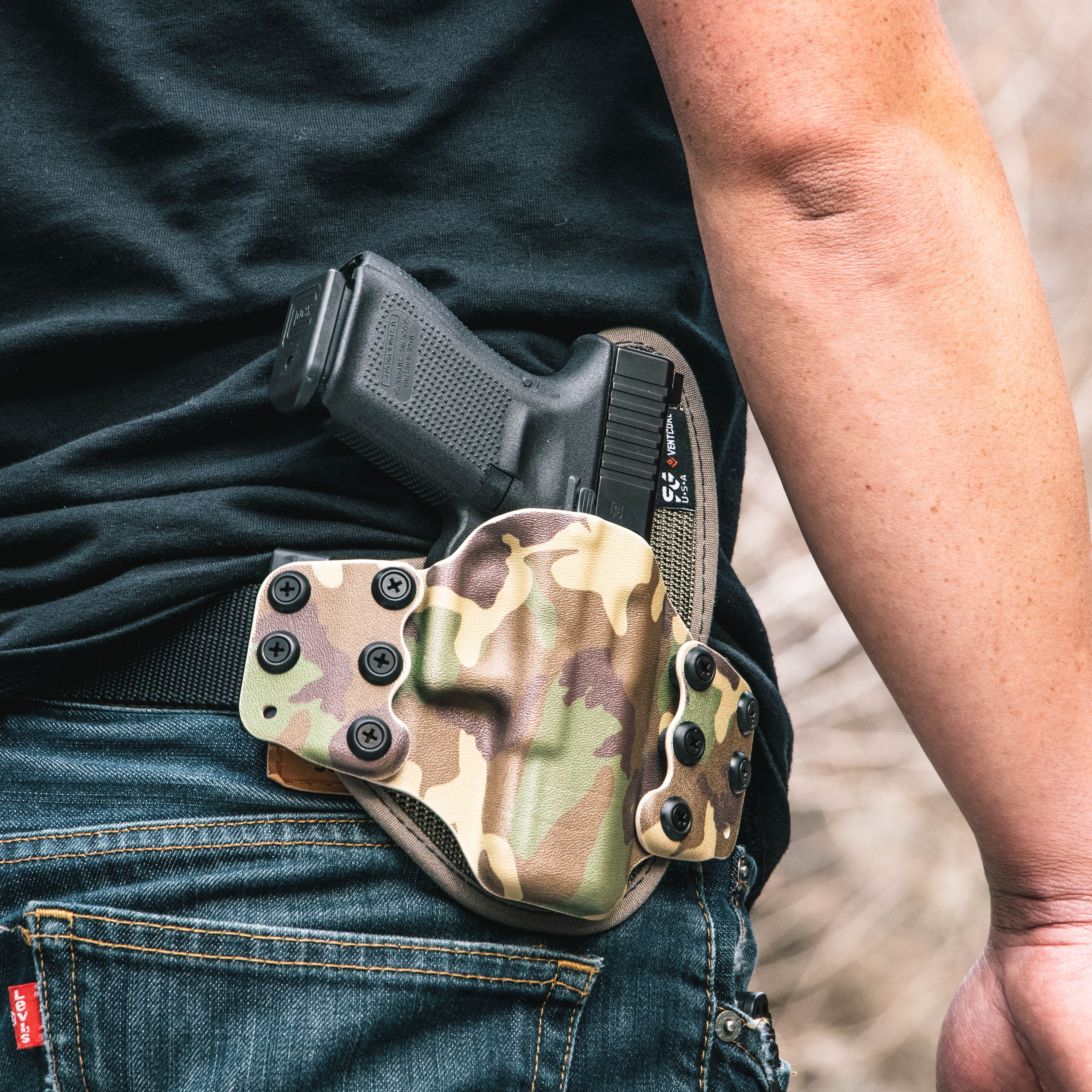 oK Open Carry OWB Paddle Holster in Carbon Fiber Hybrid Armory Holsters
