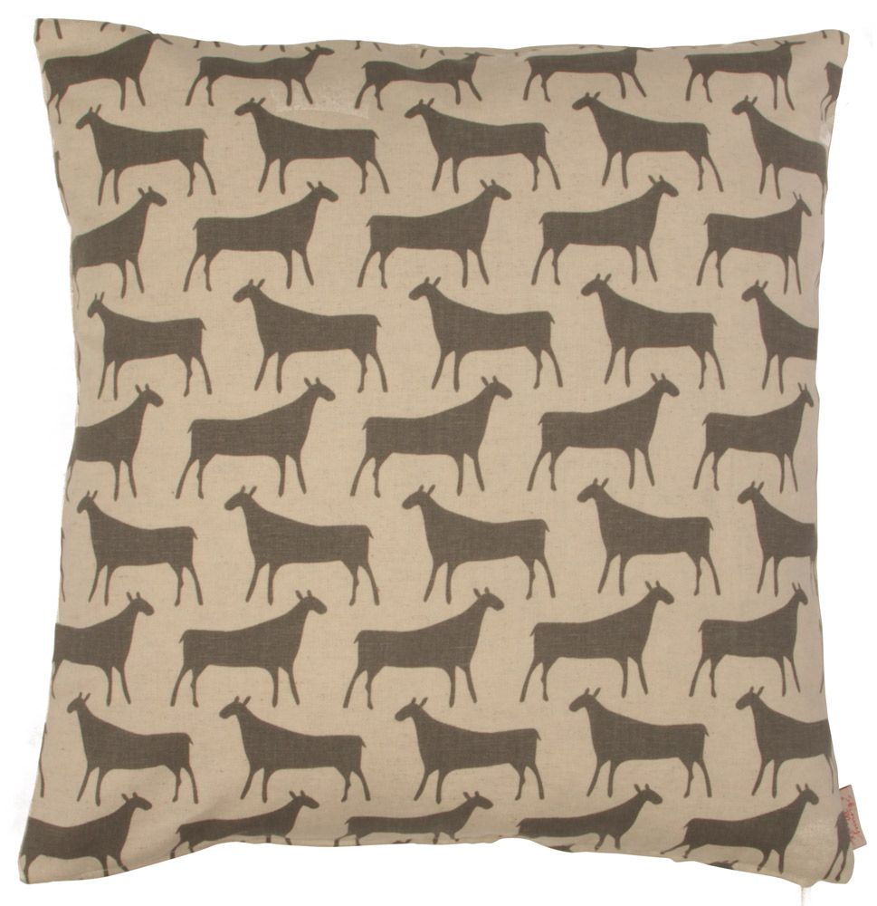 HERDS CUSHION COVER BY SKINNY LAMINX by Cape Town textile designer Heather Moore. The Herds design has ancient origins, inspired by a 2000-year-old cave drawing in the Cedarberg, just a few hours north of Cape Town. The front pattern is screenprinted with water-based grey ink onto a cotton/linen blend base cloth, while the backing is a natural-toned cotton/linen. Complete with zip closure. 47cm x 47cm $125