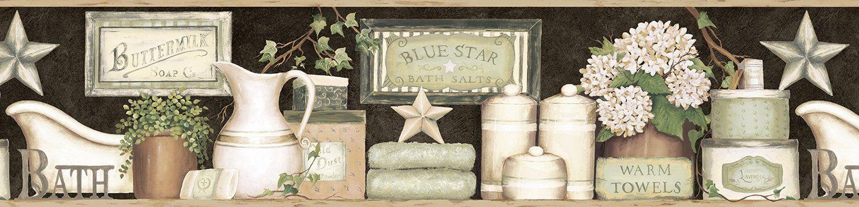 Chesapeake CTR63102B Martha Black Country Bath Wallpaper
