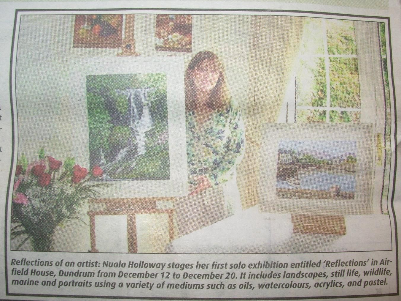 "FROM THE ARCHIVES: Regional coverage in the Southside People of Nuala's ""Reflections"" exhibition at Airfield House, Dundrum in December 2007. The exhibition was launched by writer and senator Eoghan Harris. www.nualaholloway.com #IrishArtist #NualaHolloway #IrishArt #Artist"
