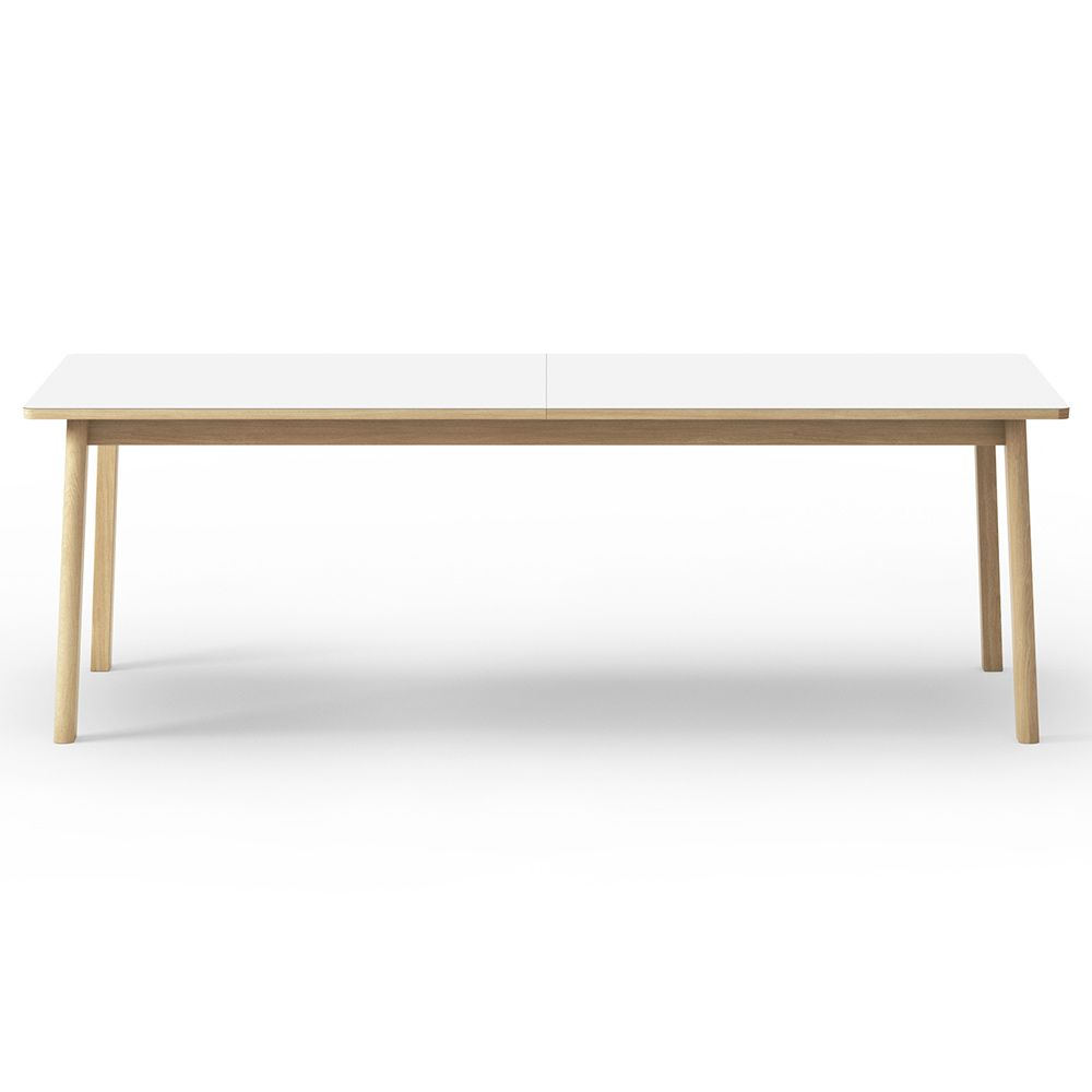 Ana Extendable Dining Table White Laminate Top Oak With Images